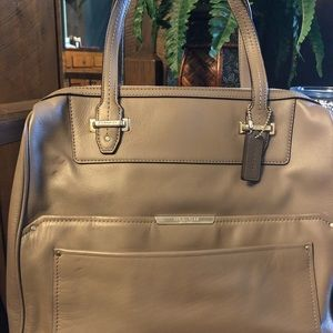 COACH Taylor Bowler Taupe Leather Satchel F30965